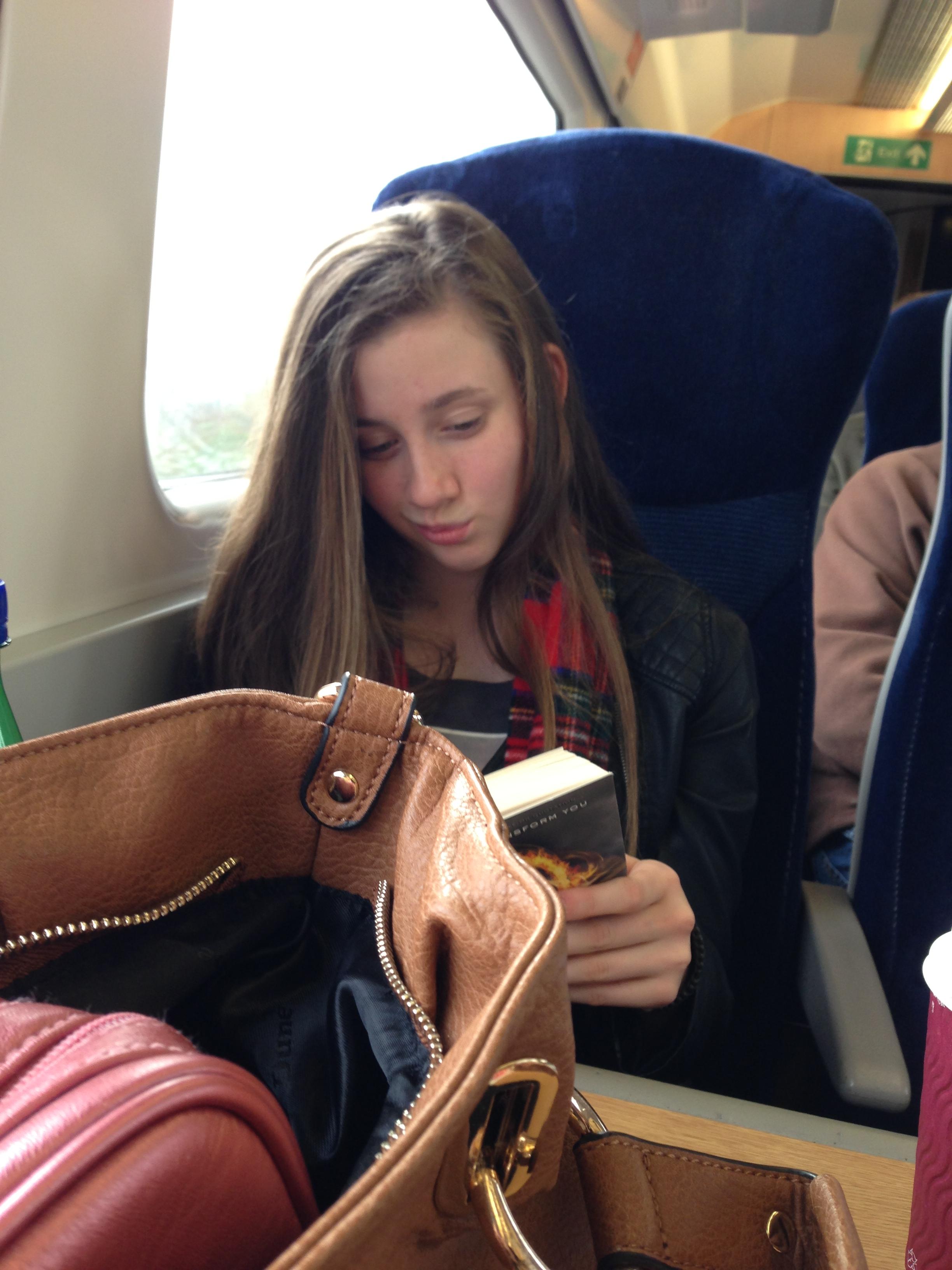 Jennifer on train